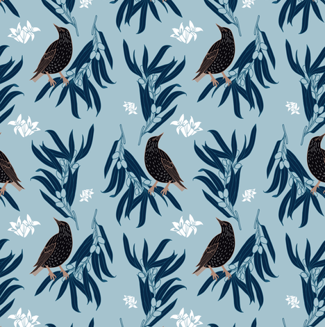 Starling + Olive in Light Blue + White Floral fabric by alisonmoen on Spoonflower - custom fabric