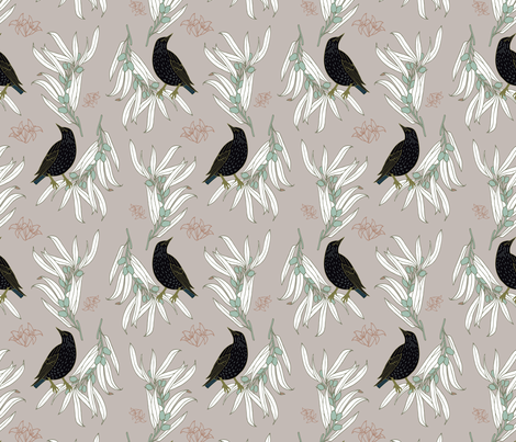 Starling + Olive in Pink - Large fabric by alisonmoen on Spoonflower - custom fabric