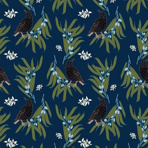 Starling + Olive in Dark Blue + White Floral