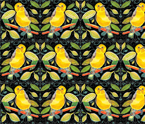 Prothonotary Warbler 1 fabric by theartfuljane on Spoonflower - custom fabric
