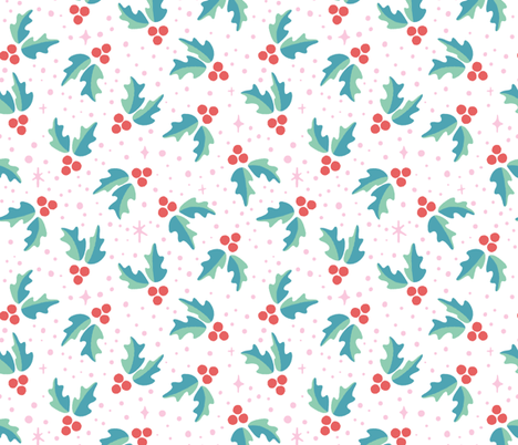 Christmas Holly fabric by kristykate on Spoonflower - custom fabric