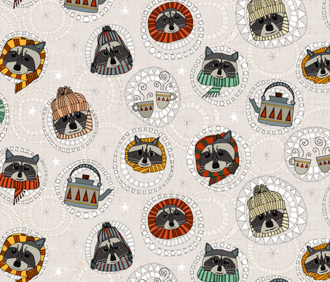 hygge raccoons fabric by scrummy on Spoonflower - custom fabric