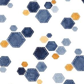 Hexagon Scatter -  blue/gold