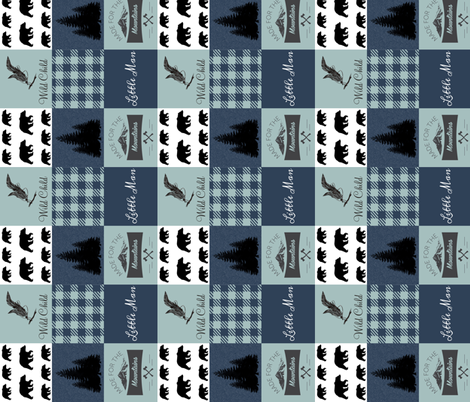 Little man - wild child - navy and mint - rotated fabric by moonsheets on Spoonflower - custom fabric