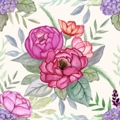 Watercolour floral on Cream MEDIUM