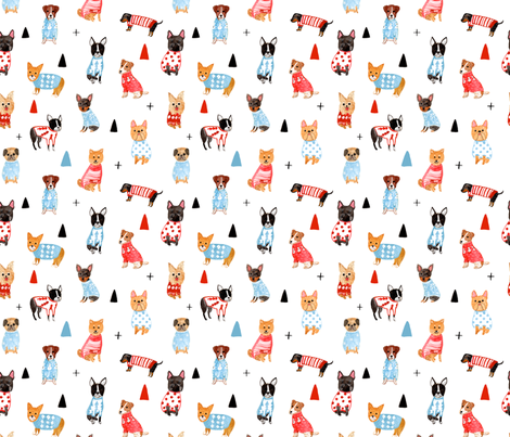 Cozy Pups in Sweater fabric by honeyberrystudios on Spoonflower - custom fabric