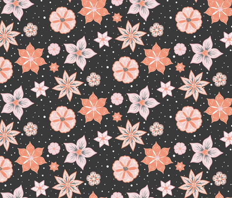 Night Flowers coordinate pattern  fabric by onelittleprintshop on Spoonflower - custom fabric