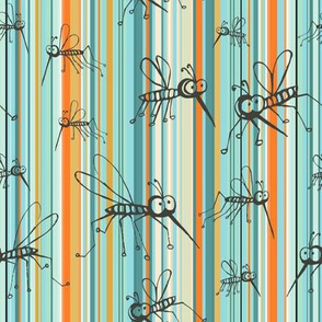 Mosquitos sunset stripes turquoise