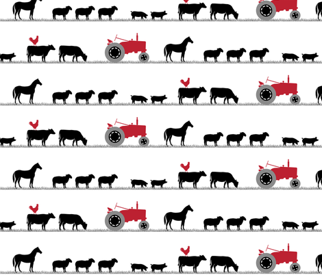 (large scale) farm animals on parade - black and red fabric by littlearrowdesign on Spoonflower - custom fabric