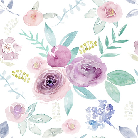 Spring Watercolour Florals MEDIUM fabric by sylviaoh on Spoonflower - custom fabric
