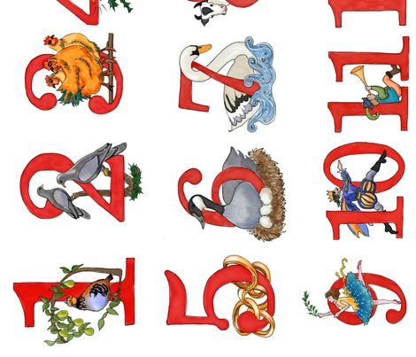 12 Days of Christmas fabric by kschowe on Spoonflower - custom fabric