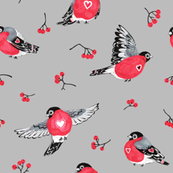 Winter Birds Grey