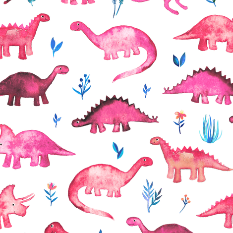 Tiny Dinos in Magenta and Coral on White Large Print fabric by micklyn on Spoonflower - custom fabric