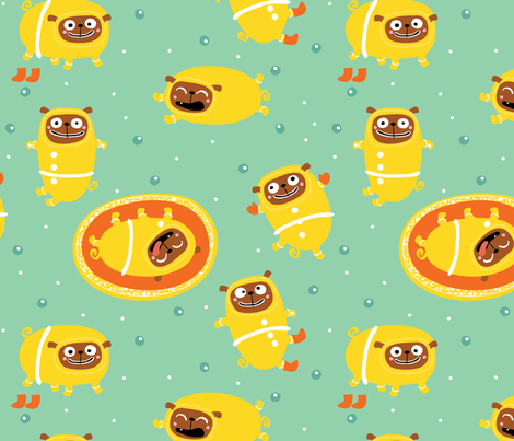 Gingerbread Pugs by Mount Vic and Me fabric by mountvicandme on Spoonflower - custom fabric