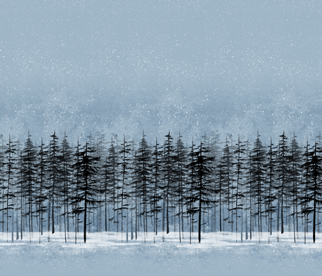 fir trees in a snowy winter night fabric by rebecca_reck_art on Spoonflower - custom fabric