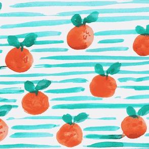 Teal stripe watercolour tangerine