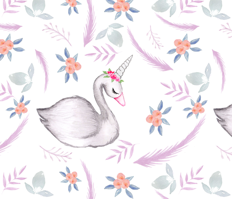 Watercolour Whimsical Swan purple hue LARGE fabric by sylviaoh on Spoonflower - custom fabric