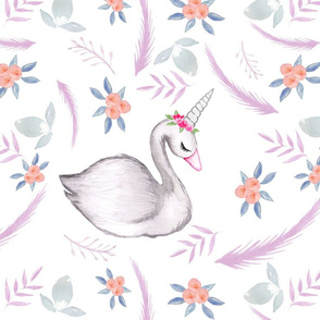 Watercolour Whimsical Swan purple hue LARGE
