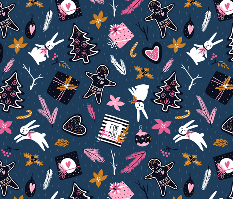 Christmas gifts fabric by alenkakarabanova on Spoonflower - custom fabric