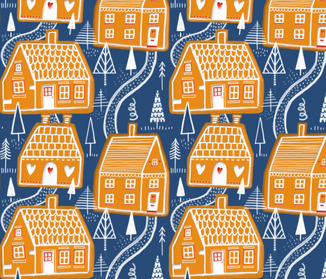 Gingerbread Village fabric by stamptout on Spoonflower - custom fabric