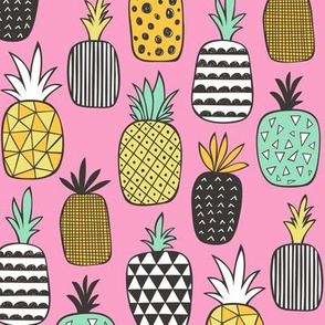 Pineapple Geometric on Pink