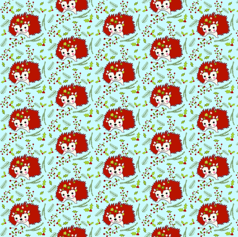 Holiday Hedgehog fabric by no9designs on Spoonflower - custom fabric