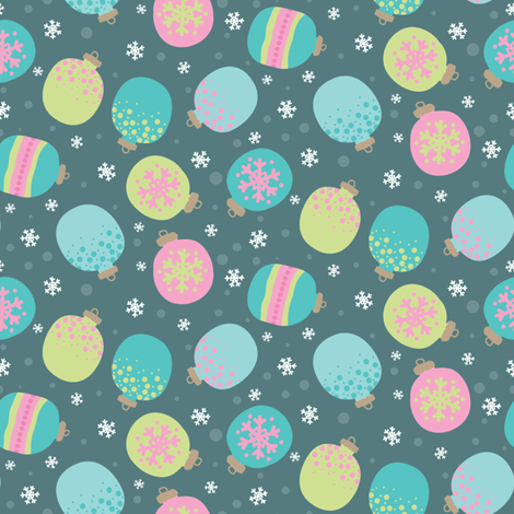 Colorful Christmas Ornaments  fabric by eastcoastcharm on Spoonflower - custom fabric