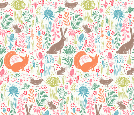 Block print woodland animals fabric by jill_o_connor on Spoonflower - custom fabric