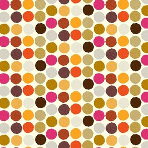 Autumn Polka Dots Small || Purple Gold Orange Brown Gray Pink