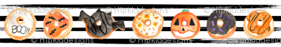 """1.5"""" Halloween Donuts // Black and White Stripes"""