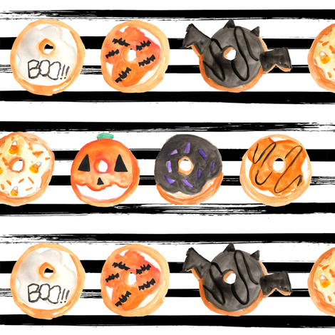 """1.5"""" Halloween Donuts // Black and White Stripes fabric by hipkiddesigns on Spoonflower - custom fabric"""