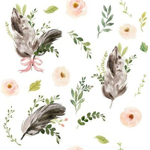 Spring Floral Feathers