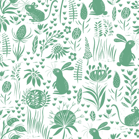 Rabbit and Mouse Green Block print fabric by jill_o_connor on Spoonflower - custom fabric