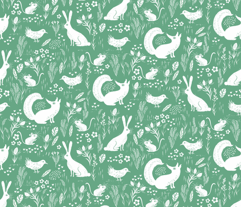 Hare, Fox, mouse and bird Green fabric by jill_o_connor on Spoonflower - custom fabric