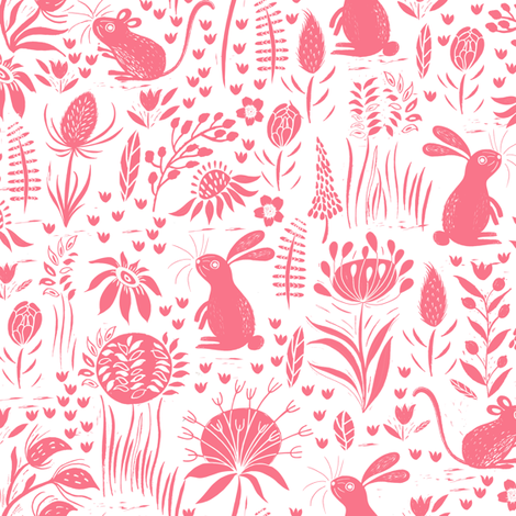 Rabbit and Mouse Pink fabric by jill_o_connor on Spoonflower - custom fabric
