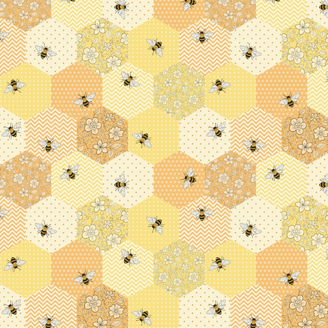 Patchwork Bees - smaller scale fabric by hazelfishercreations on Spoonflower - custom fabric