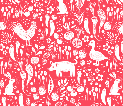 Farm Animals Red fabric by jill_o_connor on Spoonflower - custom fabric