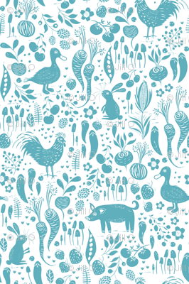 Farm Animals Sky Blue
