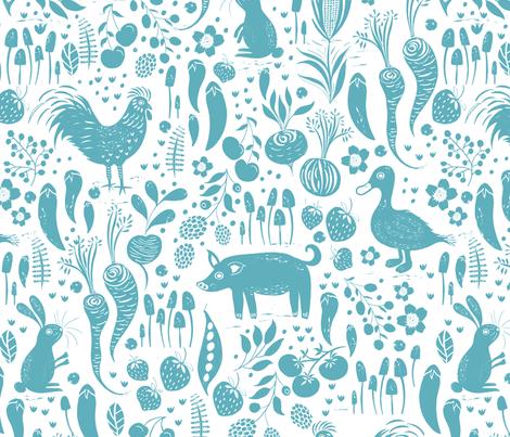 Farm Animals Sky Blue fabric by jill_o_connor on Spoonflower - custom fabric