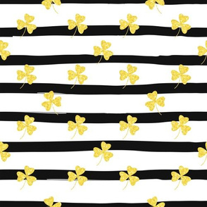 Gold Clovers on Black and White Stripes