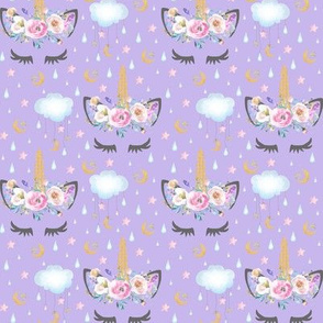 "2"" moon and stars sleepy unicorn lavender"