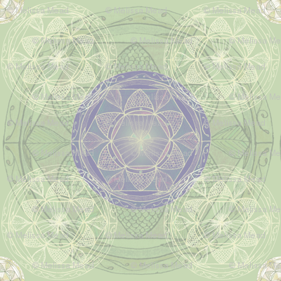 Mandala in Lime Green and Lavender