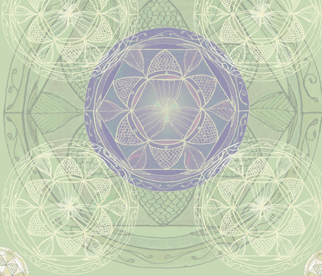 Mandala in Lime Green and Lavender fabric by shapeseekerstudio on Spoonflower - custom fabric