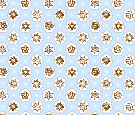 Gingerbread Snowflakes fabric by anniedrawsthings on Spoonflower - custom fabric