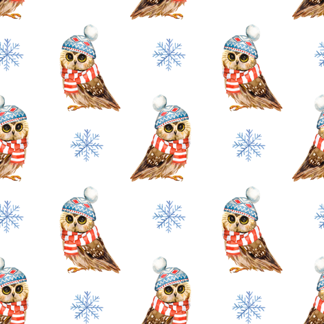 """4"""" Who Loves Winter / Owl fabric by shopcabin on Spoonflower - custom fabric"""