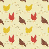 Chickens on Butter, Country Farmhouse Style Hens, Poultry Drawings