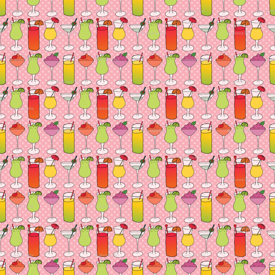 Cocktails on Pink wallpaper - northern_whimsy - Spoonflower