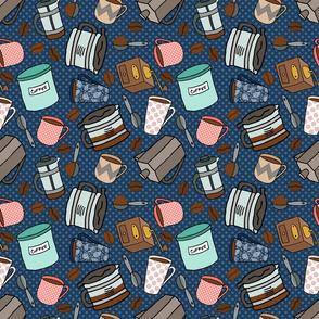 Coffee Pattern on Navy Blue