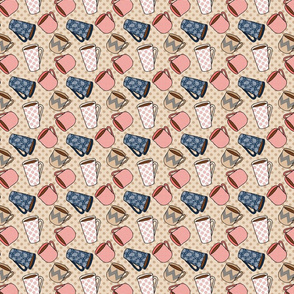 Coffee Mug Pattern in pink and navy on tan