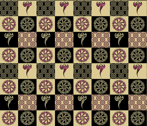 Tattoo Check Pattern gold&black fabric by pearlposition on Spoonflower - custom fabric